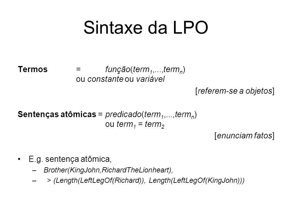 Sintaxe da LPO Termos = função(term1,...,termn) ou constante ou variável. [referem-se a objetos]
